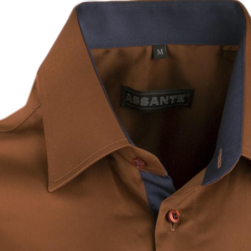 0a25d1281cc Extra prodloužená pánská košile slim fit bronzová Assante 20212
