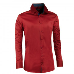 Extra prodloužená pánská košile slim fit tmavě červená Assante 20312