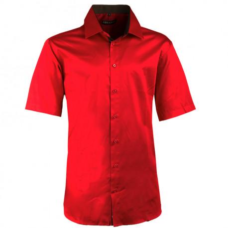Pánská karmínová košile slim krátký rukáv 100% bavlna non iron Assante 40341