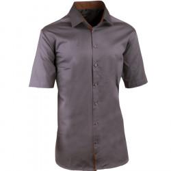 Pánská tmavě šedá košile slim krátký rukáv 100% bavlna non iron Assante 40145