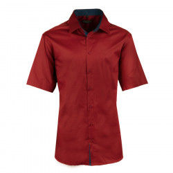 Pánská tmavě červená košile slim krátký rukáv 100% bavlna non iron Assante 40342