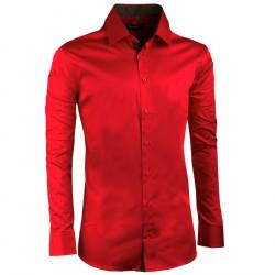 Karminově červená pánská košile slim 100% bavlna non iron Assante 30391 e72bffa7b9