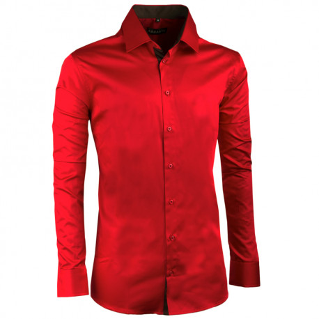 Karminově červená pánská košile slim 100% bavlna non iron Assante 30391