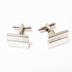 Manžetové knoflíčky s perletí stříbrné barvy Assante 90502