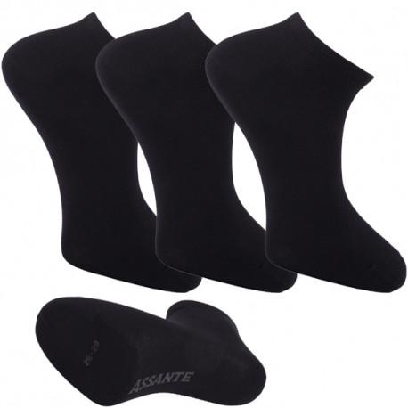 Multipack ponožky 3 páry černé antibakteriální kotníkové Ag Assante 781