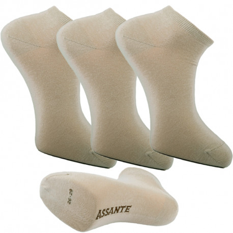 28367db0055 Multipack ponožky 3 páry béžové antibakteriální kotníkové Ag Assante 782