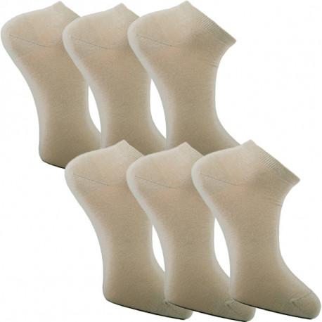 Multipack ponožky 6 párů béžové antibakteriální kotníkové Ag Assante 784