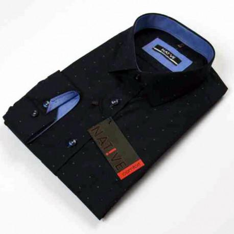 Tmavomodrá pánská košile dlouhý rukáv rovný střih Native 120003