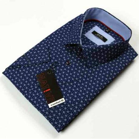 Modrá pánská košile krátký rukáv regular Native 120301