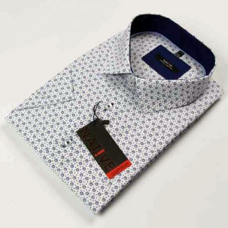 Bílá pánská košile krátký rukáv regular Native 120302