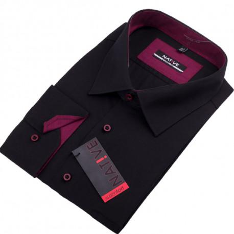 Nadměrná pánská košile černá dlouhý rukáv Native 120501