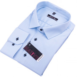Nadměrná pánská košile modrá dlouhý rukáv Native 120503