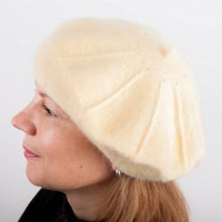 Světle žlutý dámský baret z čisté vlny Tonak 87210