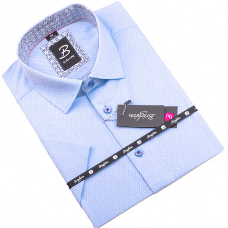 Modrobílá pánská košile krátký rukáv vypasovaný střih Brighton 109814