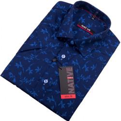 Modrá pánská košile s krátkým rukávem Native 120305