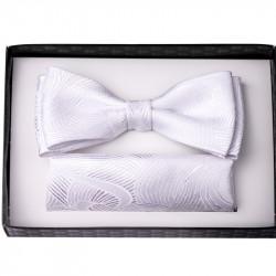 Bílý svatební motýlek s kapesníčkem Assante 90201