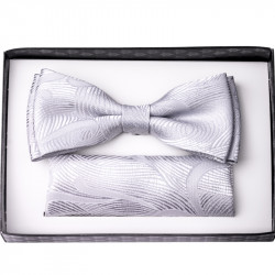 Stříbrný svatební motýlek s kapesníčkem Assante 90206