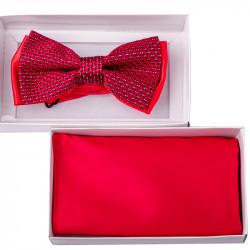 Červený motýlek s kapesníčkem Assante 90211