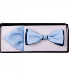 Světle modrý motýlek s kapesníčkem Assante 90219