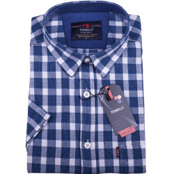 Modrá pánské košile krátký rukáv Tonelli 110802
