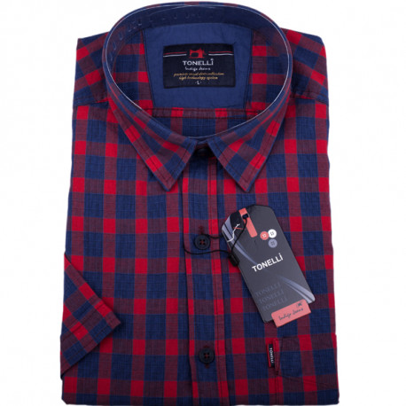 Červená košile 100 % bavlna krátký rukáv Tonelli110806