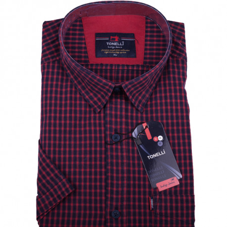 06ac9fa1f00 Červená pánské košile krátký rukáv Tonelli 110807