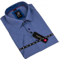 Modrá pánská košile krátký rukáv vypasovaný střih Brighton 109818