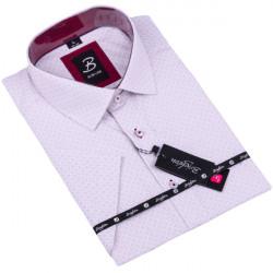 Šedofialová pánská košile krátký rukáv vypasovaný střih Brighton 109819
