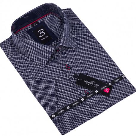 Tmavomodrá pánská košile krátký rukáv vypasovaný střih Brighton 109820
