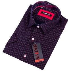 Černá pánská košile slim s krátkým rukávem Native 120312