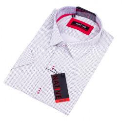 Bílá pánská košile slim s krátkým rukávem Native 120313
