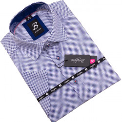 Modrobílá pánská košile krátký rukáv vypasovaný střih Brighton 109816