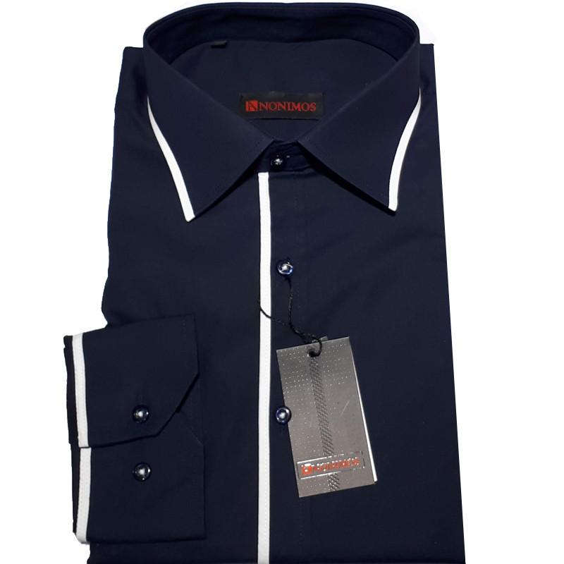 398212962be Modrá pánská košile s dlouhým rukávem rovná Anonimos 30914
