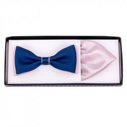 Modro pudrový motýlek s kapesníčkem Assante 90286