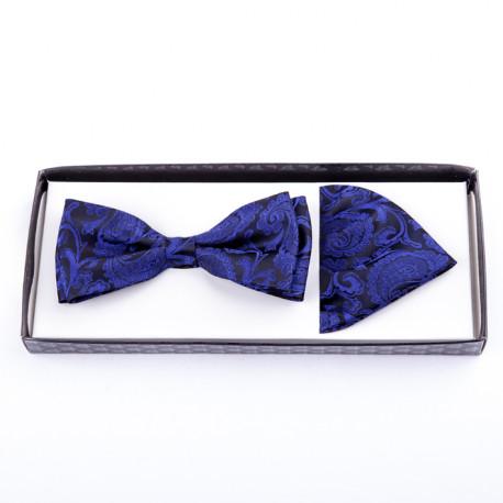 Tmavě modrý pánský motýlek s kapesníčkem Assante 90212