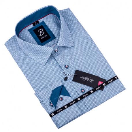Bílá s modrým vzorem pánská košile slim fit Brighton 109902