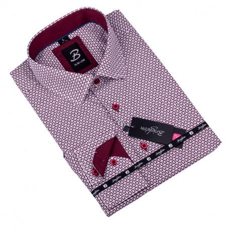 Bílá s červeným vzorem pánská košile slim fit Brighton 109909 0ed8eb9d17