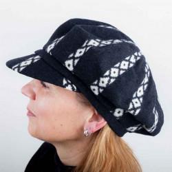 Černý dámský baret s kšiltem z čisté vlny Tonak 87200