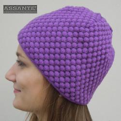 Fialová dámská pletená čepice Pletex 86042