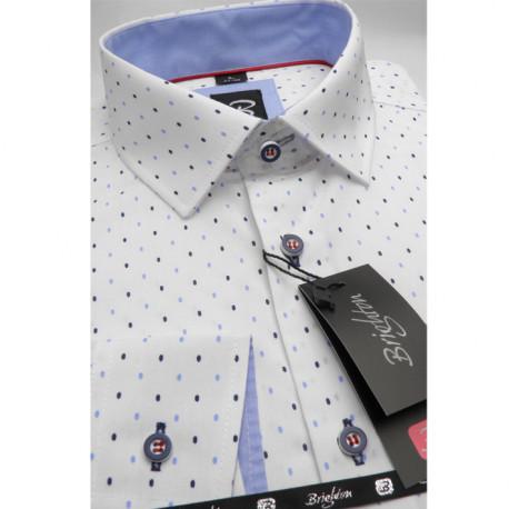 Bílomodrá pánská košile dlouhý rukáv s podšitým límcem Brighton 109994
