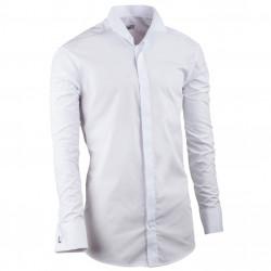 Prodloužená fraková košile slim bílá Assante 20007