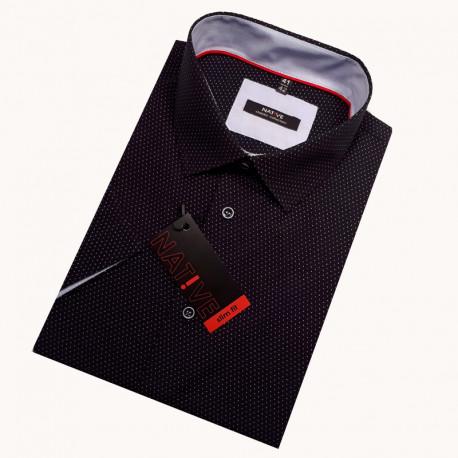 Černá pánská košile s krátkým rukávem rovná 40102