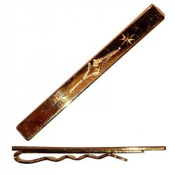 Ozdobná spona na kravatu kombinace bílo zlatá Assante 90501