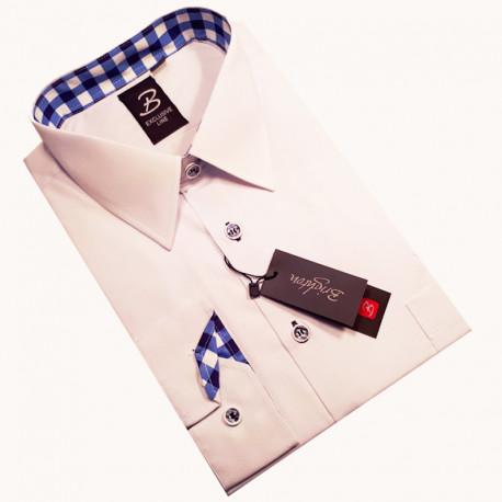 Bílá pánská košile dlouhý rukáv vypasovaný střih Brighton 110028