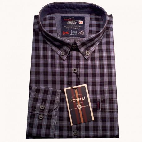 Modrá pánské košile dlouhý rukáv rovný střih Tonelli 110934