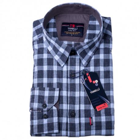 Šedomodrá kostka košile 100 % bavlna Tonelli 110968