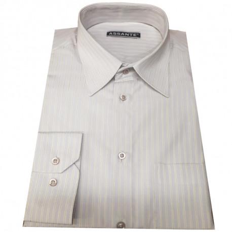 Šedá pánská košile s dlouhým rukávem slim fit Assante 30608