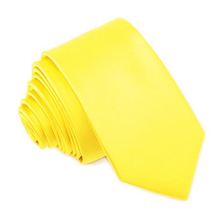 Jasně žlutá svatební kravata slim Greg 99194