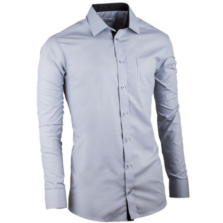 Šedá pánská košile s dlouhým rukávem slim fit Aramgad 30182