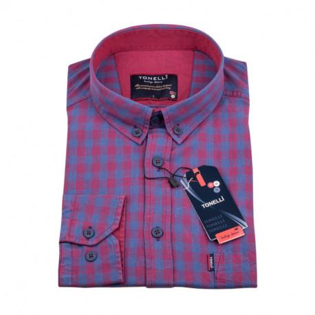 Modro vínová kostičkovaná košile Tonelli 110978